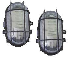 2 X BLACK OUTDOOR GARDEN SECURITY BULKHEAD BULK HEAD LIGHT LAMP LANTERN 60W