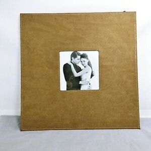Picture Frame Hanging or Easel Table Stand Suede Leather Wide Border Wall Decor