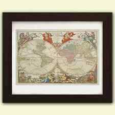 Vintage Antique reproduction World Map No4 - art print A3 on satin 285gsm Paper