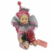 """Show-Stoppers Collectible Harlequin Jester Clown Mini Doll 9"""" Pink Black"""