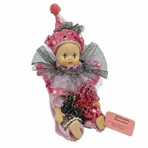 "Show-Stoppers Collectible Harlequin Jester Clown Mini Doll 9"" Pink Black"