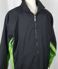 Kenpo Mens Windbreaker Jacket Sz L Black Neon Green Fleece Lined Ski Snowboard