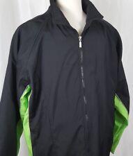 Kenpo Mens Windbreaker Jacket Sz L Black Neon Green Fleece Lined Ski Snowboard