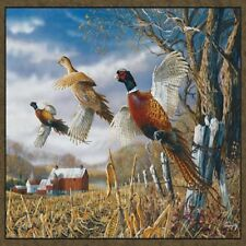PHEASANT #2 SET OF 4 COASTERS RUBBER WITH FABRIC TOP
