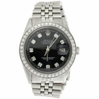 Mens Rolex 36mm DateJust Diamond Watch Jubilee Steel Band Custom Black Dial 2 CT