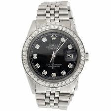 Reloj rolex para hombre diamantes 36 mm Datejust Jubilee Dial Negro personalizado de banda de acero 2 CT