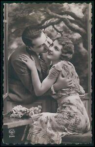 ag11 Romance love couple glamour fantasy original c1920-1930s photo postcard