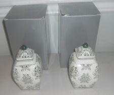 Set of (2) Damask Illuminated Pierced porcelain Ginger Jar Urns by Valerie GREEN