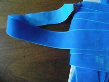 MERCERIE RUBAN velour BLEU GITANE 1mx 3.5 cm@RUBBON