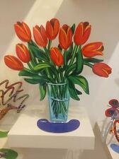 "David Gerstein Metal Modern Art Sculpture ""Tulips Flowers in glass Vase"" New"
