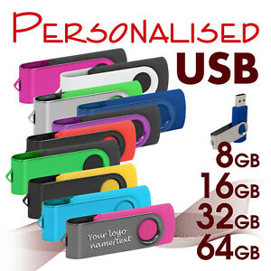 Personalised USB Flash Drive Memory Stick with laser engraving  8 - 64 GB *USB*