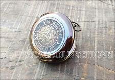 Brass Compass Antique Vintage Pocket Push Button Royal Navy London Compass