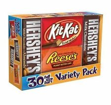 Hershey's Full Size Candy Bars 30 ct Variety Pack Chocolate Kit Kat Reeses