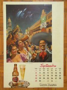 1950's BEAUTIFUL ART CARTA BLANCA BEER AD PIN-UP EDUARDO CATANO MEXICAN  POSTER
