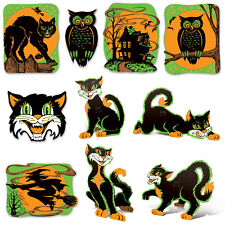 10 Halloween Hanging Vintage Style Fluorescent Cutouts haunted house decorations