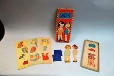 Boxed Set Pressed Board Dolls w Dresses - Uncut 1942 Samuel Lowe