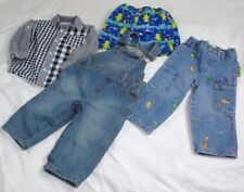 4 LOT 12 -18 MONTH TODDLER BOYS OVERALLS CARGO JEANS PANTS SHIRT SWIMSUIT DIAPER