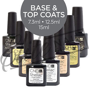 CND SHELLAC - Base Coats 7.3 ml & 12.5 ml sizes.  Top Coats 7.3 ml & 15 ml sizes