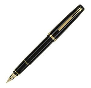 Pilot Falcon Fountain Pen, Black w/ Gold Accents, Soft Nib, Hard Plastic