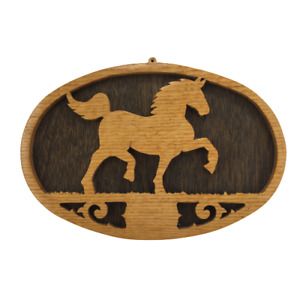 Vintage Wall Hang Oval Wood Plaque Sign HORSE Rustic Country Cowboy Handmade