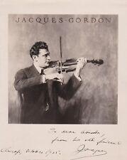 JACQUES GORDON Violinist signed photo, Chicago, 1925