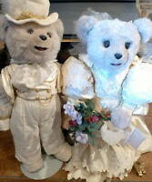 "Vintage TILLY Wedding Decor Bride Bear 26"" Lucinda Bride Langford Groom Stands"