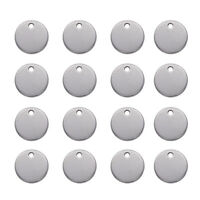 100pcs 304 Stainless Steel Round Metal Tags Stamping Blanks Tag Charms 10x0.6mm