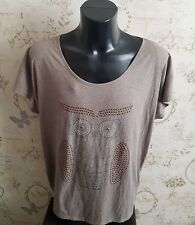 Owl Top Tshirt Size 24 brown inspire plus size range studded