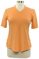 Isaac Mizrahi Live Essentials S Orange V-Neck Elbow Sleeve Tunic A289635