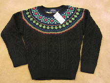 Ralph Lauren Kids Holiday Cotton/Wool Blend Sweater Fair Isle Cable Knit  3T $65