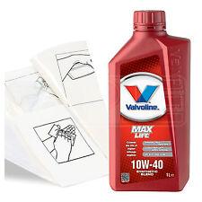 Engine Oil Top Up 1 LITRE Valvoline MaxLife 10w-40 1L +Gloves,Wipes,Funnel