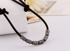 New Men Handmade Brown Leather Surfer Necklace Vintage Bullet Shell Chain Choker