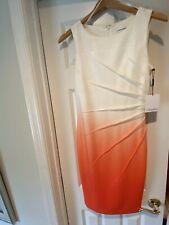 Calvin Klein Dress Size 4 Orange/ White. Brand New With Tags NWT