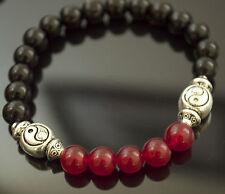 Energizing SCENT THERAPY Beaded Bracelet SWEET ORANGE Yin Yang Onyx & Red Jade