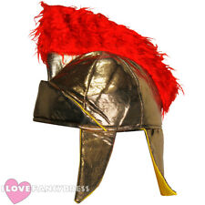 ADULT ROMAN HELMET SOFT GOLD HAT WITH RED PLUME GREEK GLADIATOR FANCY DRESS