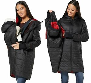 HAPPY MAMA Women's Maternity Hooded Coat Zip-In Padded Carrier Baby Jacket 400