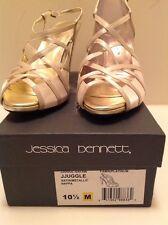 Jessica Bennett New Women Fawn Platinum Satin MetallicStrappy Sandal Size 10 1/2