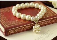 Pearl Beads bracelet rhinestone crystal ball charm bangle  NEW