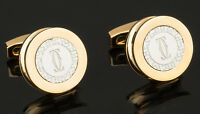 Cartier cufflinks Gold Round Thick Men's designer acessories NEW