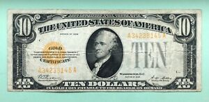 1928 $10.00 GOLD SEAL GOLD CERTIFICATE NOTE No Reserve