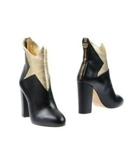 Charlotte Olympia Galactica Star Black Leather Gold Star Boot Shoe 41 11