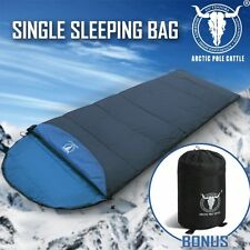 Outdoor Camping Envelope Sleeping Bag Thermal Tent Hiking Winter Single Blue