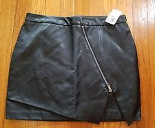 NWT Forever 21 F21 Faux Leather Look Black Skater Mini Skirt Size L