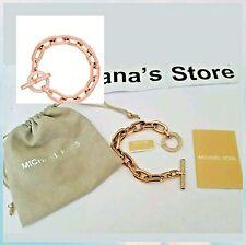 NWT Michael Kors Rose Gold Logo RHINESTONE Chain Toggle Bracelet MKJ4865791 $150