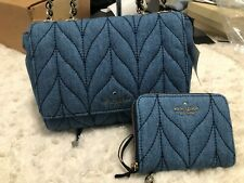 Kate Spade Briar Lane Quilted Denim Mini Emelyn Crossbody Bag Purse 484