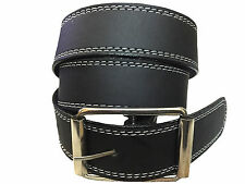 Men's Formal Belt Black color white stitching Light weight Belt Rolling Buckle