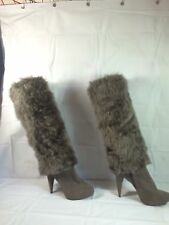 "Womens Faux Fur Suede Gray Fashion Boot Size 8, 4 1/2"" High Heel"
