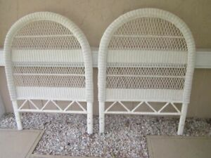 Twin Headboard Cottage Style Resin Fiberglass White Set of Two