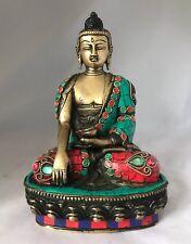 Buda 8'' Piedra funcionan Medicina Grande BUDHA latón HEAVY Meditación hecho a