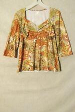 S6240 Christopher & Banks Large Gold/Multi-Color Floral 3/4 Sleeve Knit Top